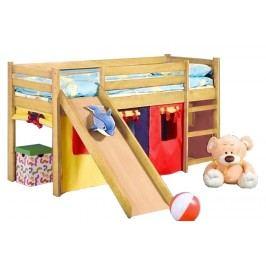 Patrová postel 80 cm - - Neo Plus Borovice (masiv, s roštem a matrací)