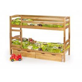 Dětské patrová postel z masivu 80 cm - - Sam Olše (masiv, s roštem a matrací)