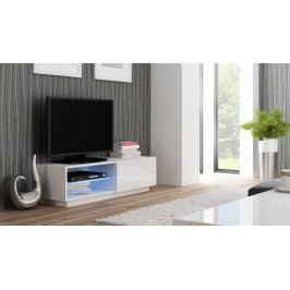 TV stolek/skříňka - - Livo RTV-120S (bílá + lesk bílý)