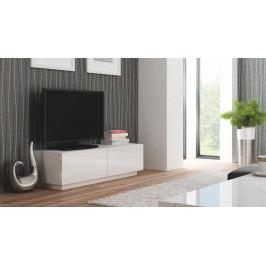 TV stolek/skříňka - - Livo RTV-160S (bílá + lesk bílý)