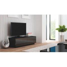 TV stolek/skříňka - - Livo RTV-160S (černá + lesk černý)
