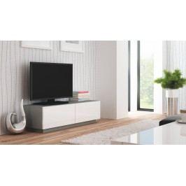 TV stolek/skříňka - - Livo RTV-160S (šedá + lesk bílý)
