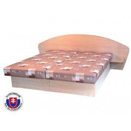 Manželská postel 160 cm - Mitru - Edo 7 s policemi (s pružinovou matrací)