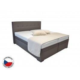 Manželská postel Boxspring 160 cm - Blanár - Rumba (hnědá) (s roštem a matracemi)