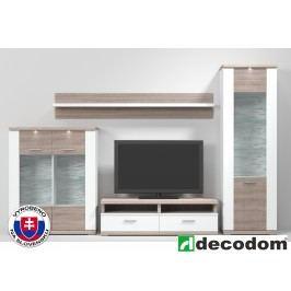 Obývací stěna - Decodom - Brooklyn - Kombinace 01 (bílá arctic vysoký lesk + dub řezaný Bardolino)