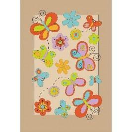Ručně všívaný koberec (tuftovaný) - Bakero - Kids Butterfly Beige