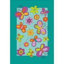 Ručně všívaný koberec (tuftovaný) - Bakero - Kids Butterfly Turquoise