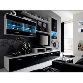 Obývací stěna - Leo bílá + černá (s osvětlením) *masážní přístroj ZDARMA