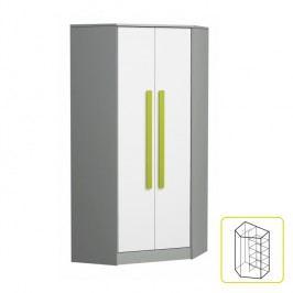 Rohová šatní skříň - Piere - P02 - Zelená