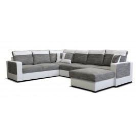 Rohová sedací souprava U - Po-Sed - Mega 2+A+2F+L (šedá + bílá) (P)