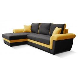 Rohová sedací souprava - Po-Sed - Rony L+2F (černá + žlutá) (L)