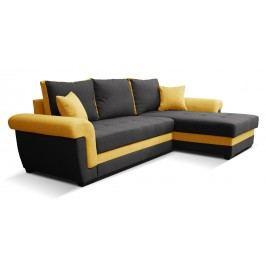 Rohová sedací souprava - Po-Sed - Rony 2F+L (černá + žlutá) (P)