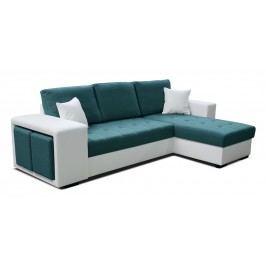 Rohová sedací souprava - Po-Sed - Thema Lux 2F+L (tyrkysová + bílá) (P)