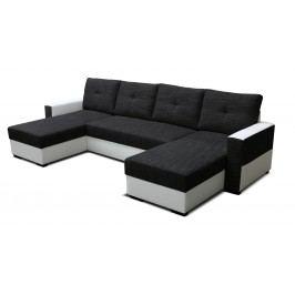 Rohová sedací souprava U - Po-Sed - Arenna L+2+L (s taburetem) (černá + bílá)( (P)