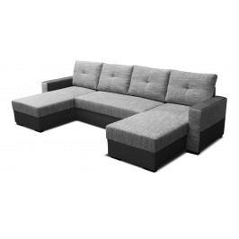 Rohová sedací souprava U - Po-Sed - Arenna L+2+L (s taburetem) (šedá + černá) (P)