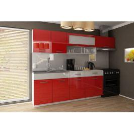 Kuchyňská linka Dorka 240/180 červená/bílé zásuvky - FALCO