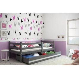 Dětská postel Eryk 90x200 cm grafit/bílý pruh - BMS