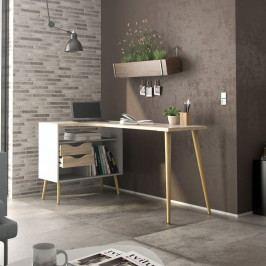 Retro psací stůl Oslo 75450 bílý/struktura dubu - TVILUM