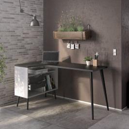 Retro psací stůl Oslo 75450 bílý/černý mat - TVILUM