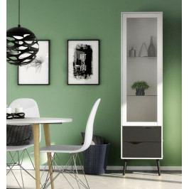 Retro vitrína Oslo 75461 bílá/černý mat - TVI