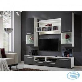 Obývací stěna WU-2020 bílá/šedý lesk