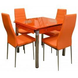 Jídelní set Kent 4+1 rozkládací oranžový