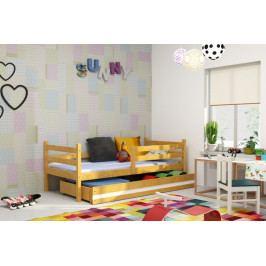 Dětská postel Eryk 90x200 cm olše/bílý pruh - BM