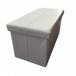 Skládací taburet Imra bílá ekokůže - TempoKondela