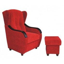 Křeslo ušák Relax červená/wenge + taburet - FALCO