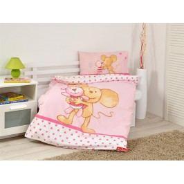 Herding Dětské povlečení Zvířátka: Mouse pink bavlna,100x135