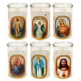 Svíčka ve skleničce se svatými motivy Ježíše a Marie, 10 cm