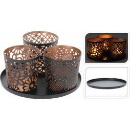 Dekorativní svícen na 3 čajové svíčky pr. 14 cm  ProGarden KO-A04420230