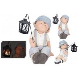 Zahradní dekorace kluk / holka s lucernou na čajovou svíčku ProGarden KO-796000030