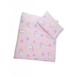 Povlečení (růžovo-bílá) - Kočička - velikost: 120x90 (přikrývka) + 40x60 (polštář)