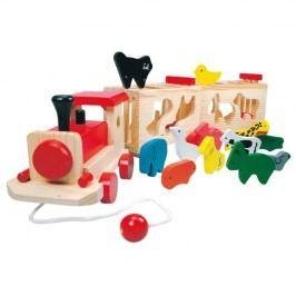 BINO - 84166 Dřevěný vlak se zvířátky - Zoo Trenino