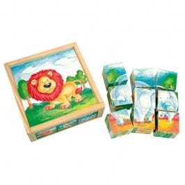 Bino - 84174 Kostky Divoké zvířátka v krabičce 9 kusů,