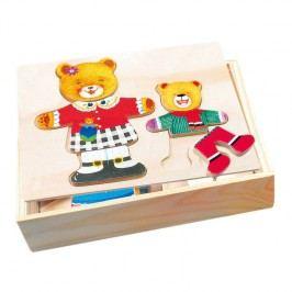 Bino - 88023 Puzzle Šatní skříň - medvědice a medvídek