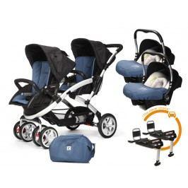 CASUALPLAY - Set kočárek pro dvojčata Stwinner, 2 x autosedačka Baby 0plus, 2x BaseFix Baby 0 a Bag 2017 - Lapis Lazuli