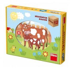 DINOTOYS - Dřevěné kostky Domácí zvířátka 12 ks
