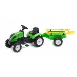 FALK - Šlapací traktor 2057G Garden master zelený s vlečkou a lopatkou s hrabičky