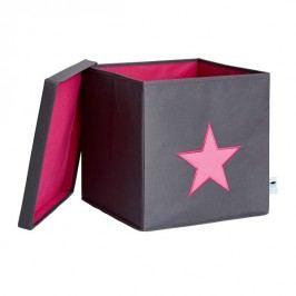 LOVE IT STORE IT - Box na hračky s krytem - šedý, růžová hvězda