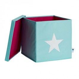LOVE IT STORE IT - Box na hračky s krytem - zelený, bílá hvězda