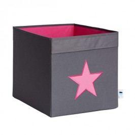 LOVE IT STORE IT - Velký box na hračky - šedý, růžová hvězda