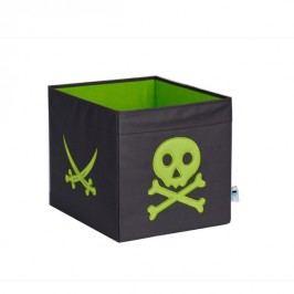 LOVE IT STORE IT - Velký úložný box Piráti - šedý se zeleným pirátem