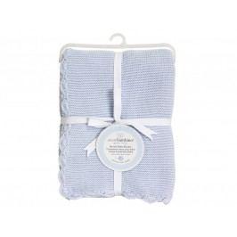 PICCOLO BAMBINO - Pletená deka vroubkovaná 76 x 76 cm - modrá