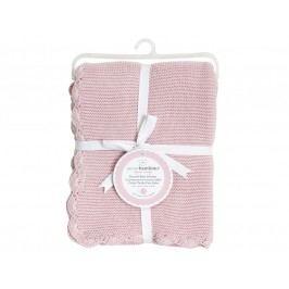 PICCOLO BAMBINO - Pletená deka vroubkovaná 76 x 76 cm - růžová