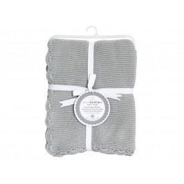 PICCOLO BAMBINO - Pletená deka vroubkovaná 76 x 76 cm - šedá