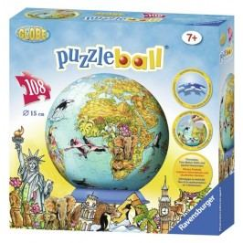 RAVENSBURGER - Dětská mapa světa Puzzleball 108D