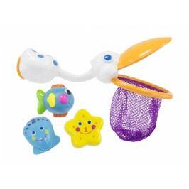Pelikán s hračkami do koupele