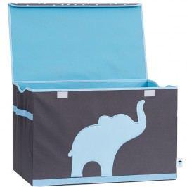 LOVE IT STORE IT - Truhla na hračky - šedá, modrý slon - posílená MDF materiálem